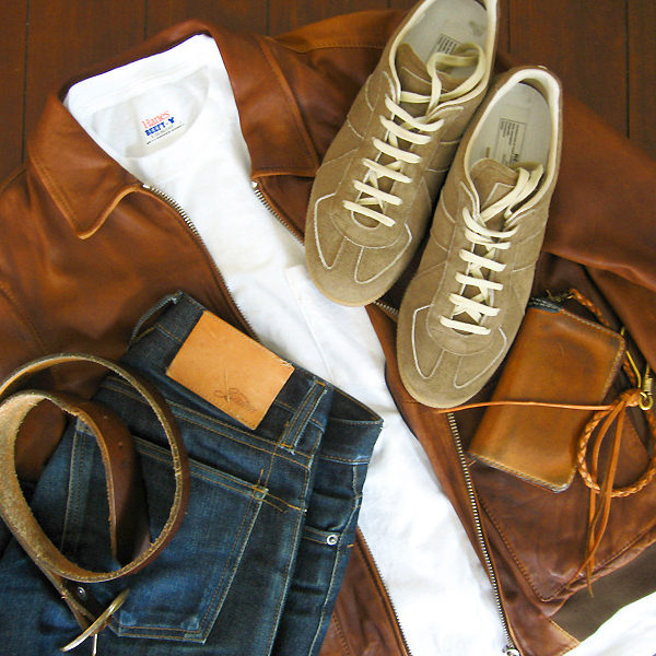 White Tee + Denim + Leather